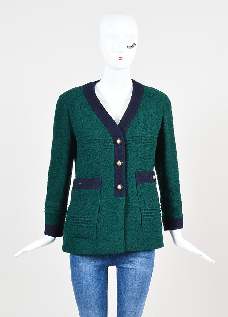 Chanel Forest Green and Navy Boucle Knit Embellished Button Blazer Jacket Frontview 2