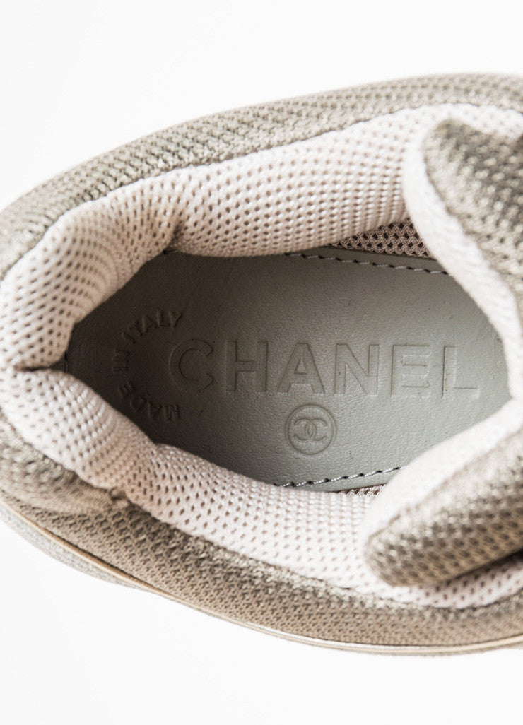 "Chanel Grey, White, and Metallic Gold Leather Suede ""CC"" Sneakers Brand"