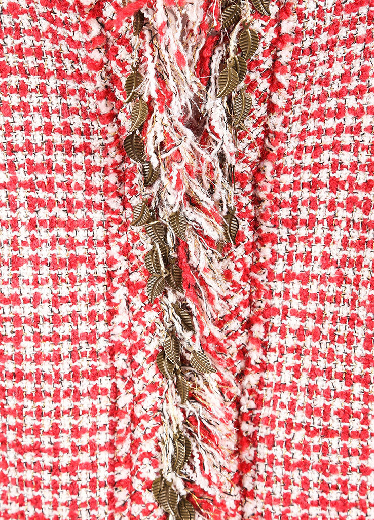 Chanel Red and White Wool Blend Tweed Fringe Trim Jacket Skirt Suit Detail