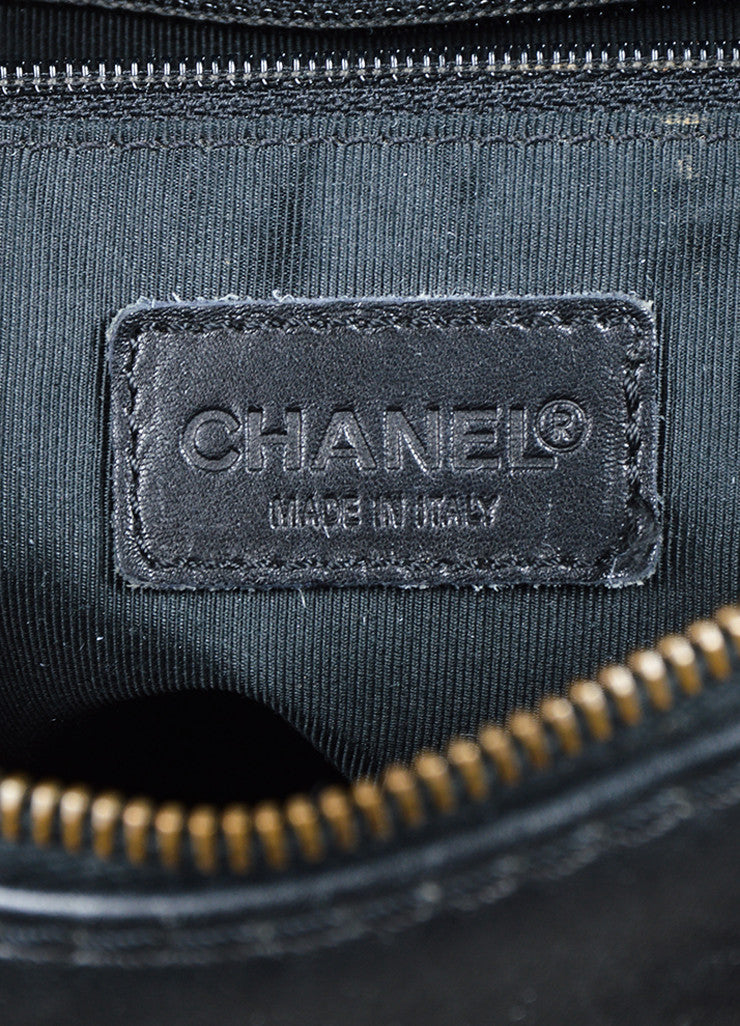 "Chanel ""Surpique Bowler"" Black and Beige Leather Quilted Tote Bag Brand"