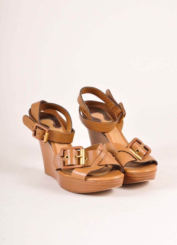 Chloe Brown Leather and Wood Buckle Ankle Strap Wedges Frontview