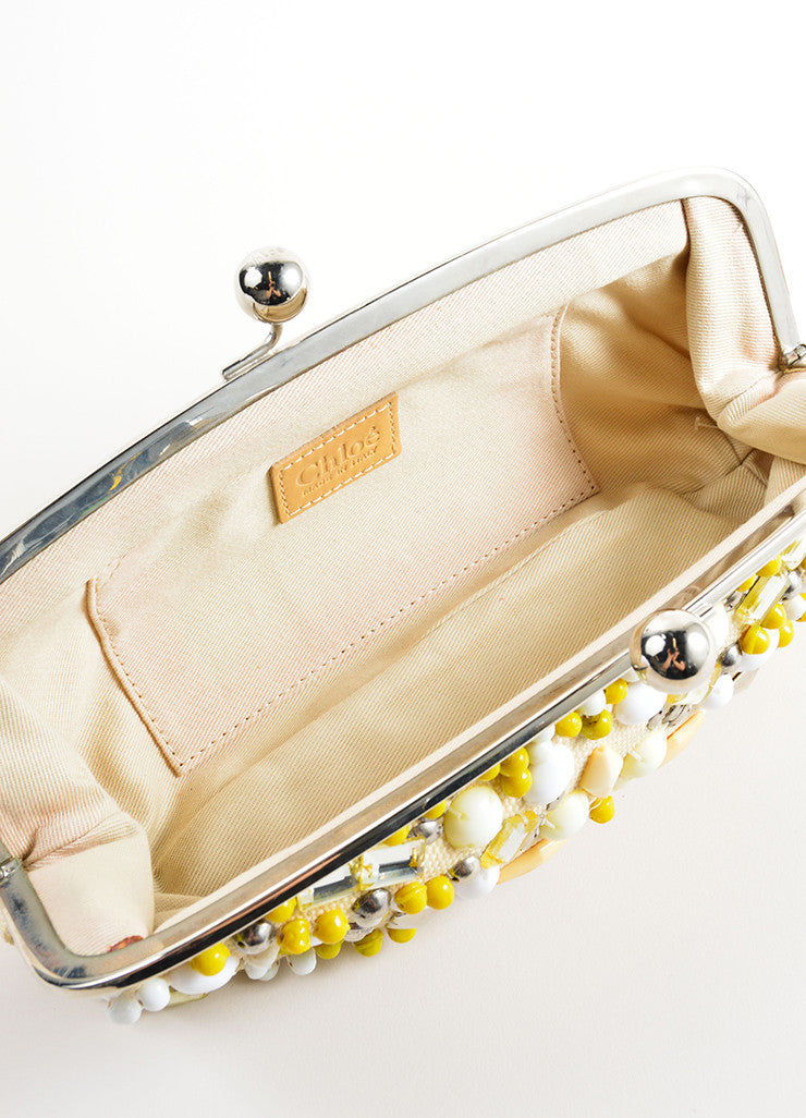 Chloe Cream, Yellow, and Silver Toned Canvas Beaded Kiss Lock Frame Clutch Bag Interior