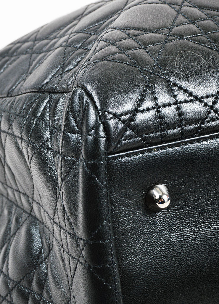 "å´?ÌÜChristian Dior Black ""Cannage"" Quilted Leather Large ""Lady Dior"" Tote Bag Detail"