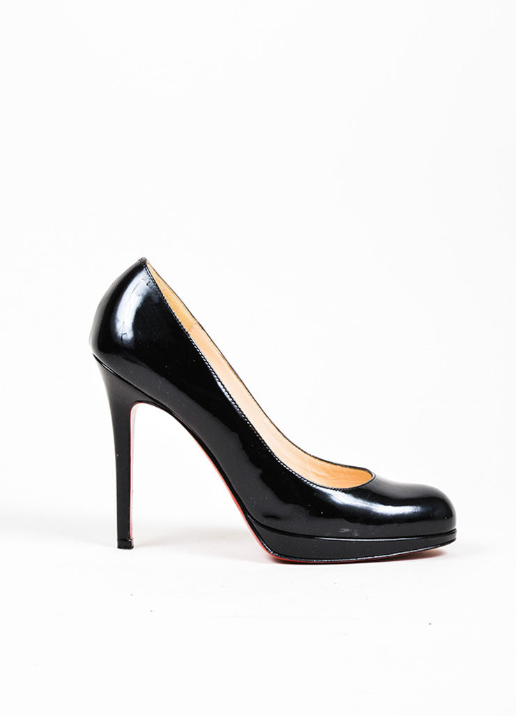 "Black Christian Louboutin Patent Leather Almond ""New Simple"" Pumps Sideview"