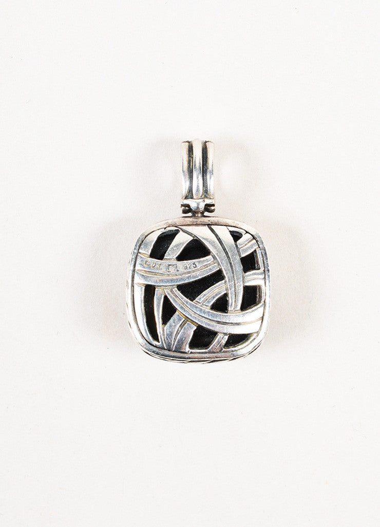 "David Yurman Sterling Silver Black Onyx Pave Diamond ""Albion"" Pendant Enhancer Backview"