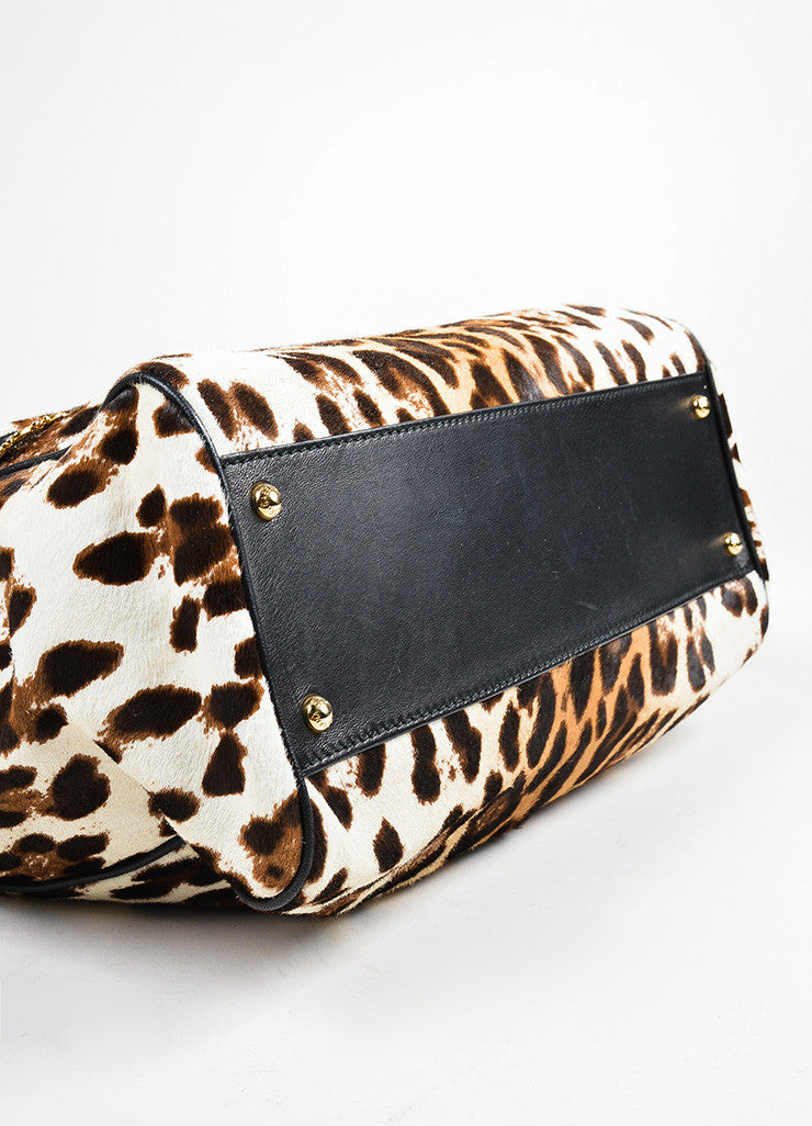 "Dolce & Gabbana Cream and Brown Pony Hair Leopard Print ""Miss Sicily"" Bag Bottom View"