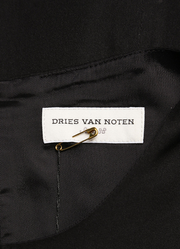 Dries Van Noten Black Satin Ruffle Trim Crop Sleeve Shift Dress Brand