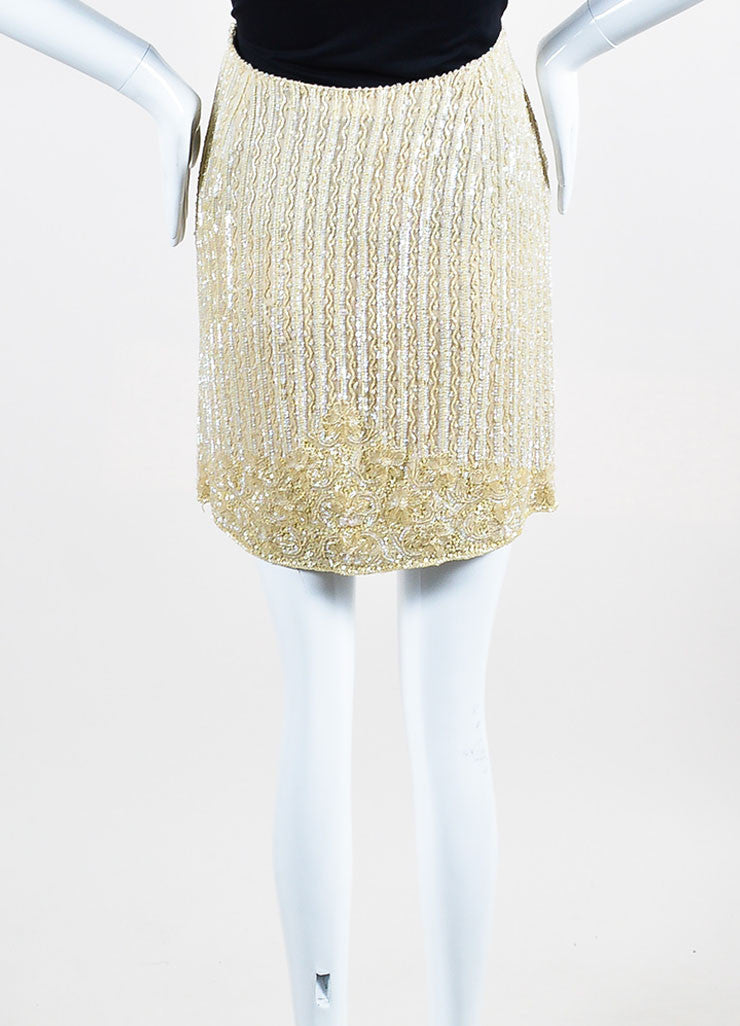 Escada Tan Silk Sequin Beaded Embellished Mini Skirt Backview