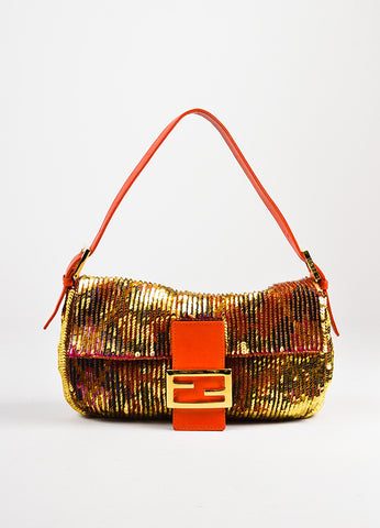 "Fendi Red Gold Tone Leather Sequined Beaded ""Baguette"" Bag Front"