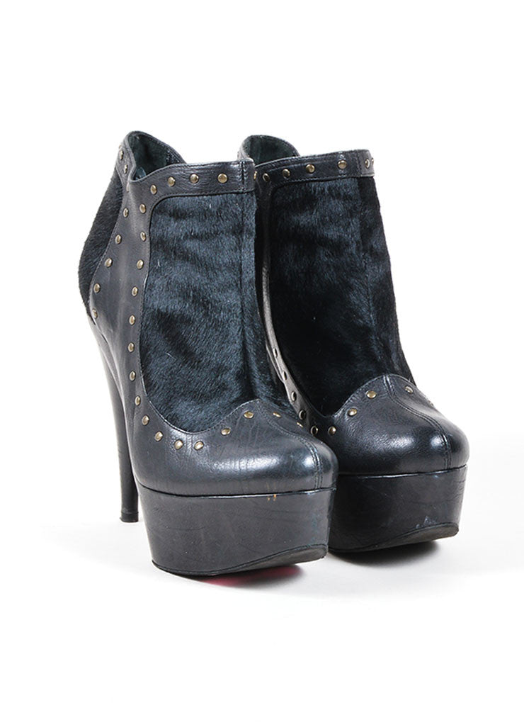 Black Fendi Leather and Pony Hair Studded Platform Ankle Boots Frontview