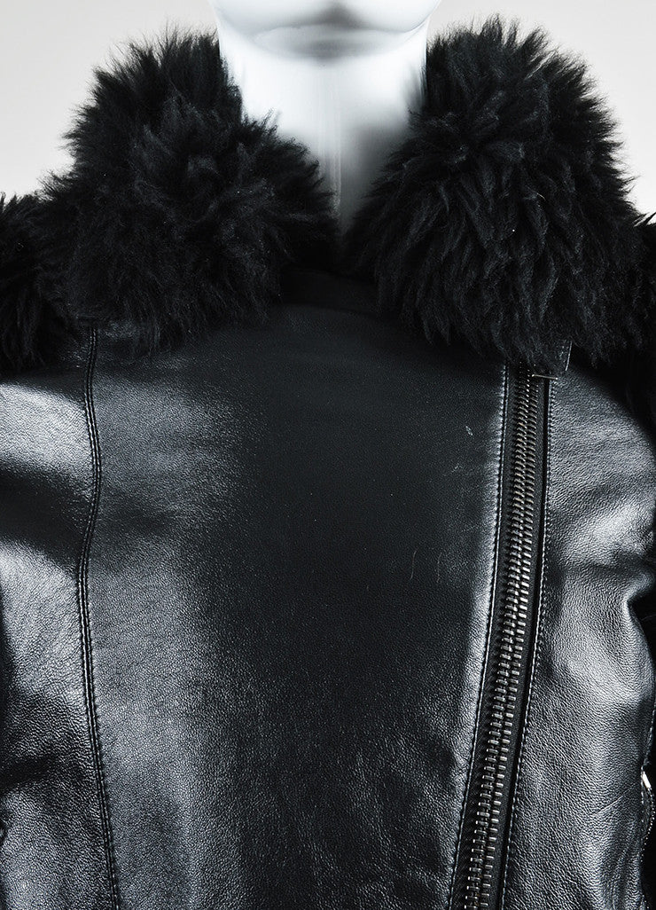 Black Gareth Pugh Leather and Shearling Fur Sleeves Jacket Detail