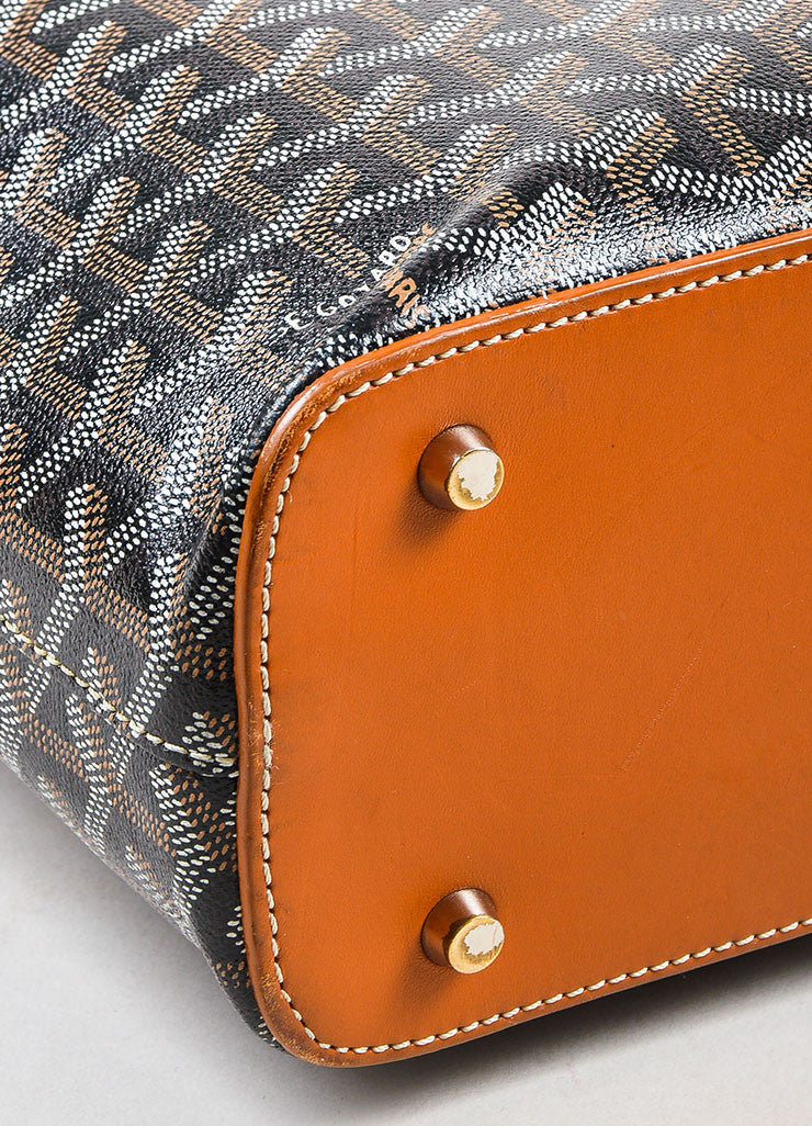 "Goyard Black, Tan, and White Coated Canvas and Leather ""Okinawa"" GM Tote Bag Detail"