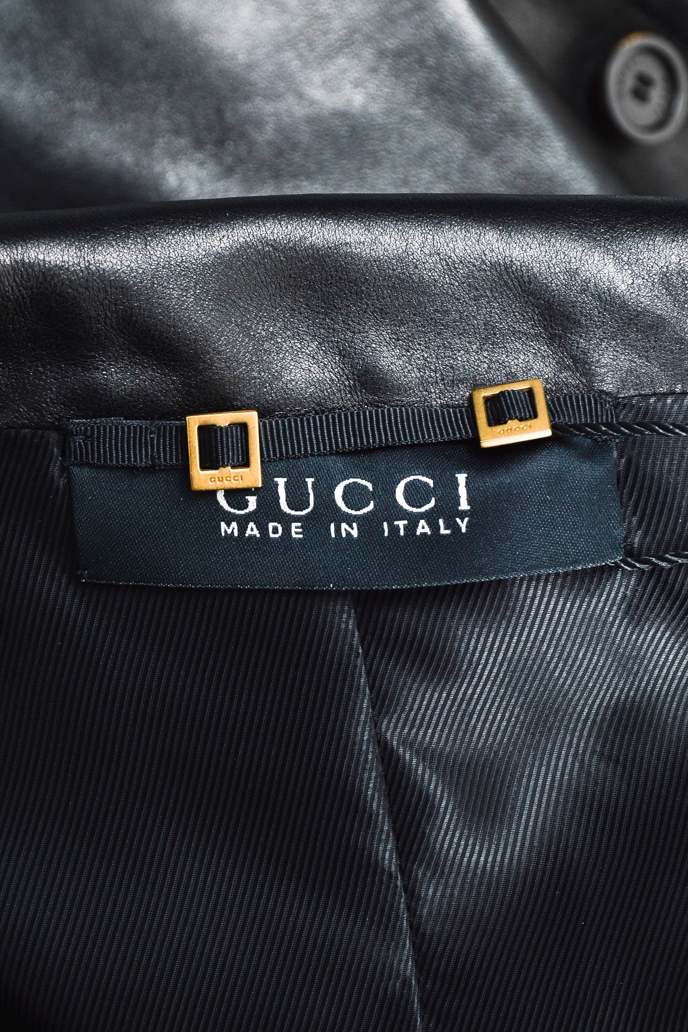 Black Gucci Leather Fitted Long Sleeve Buttoned Jacket Brand
