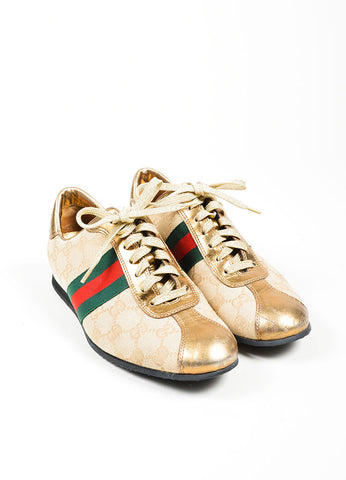 Gucci Beige Canvas Metallic Leather Monogram Stripe Sneakers Frontview