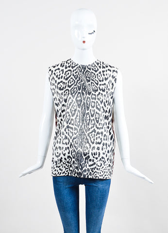 Haider Ackermann Black Red White Silk Leopard Print Sleeveless Top Front