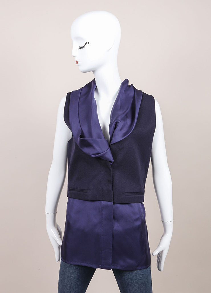 Haider Ackermann New With Tags Navy Combo Short Sleeve Waistcoat Vest Frontview