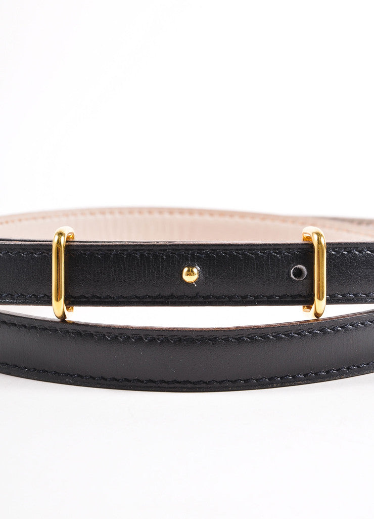 Hermes Black and Gold Toned Prong Buckle Skinny Leather Belt Detail