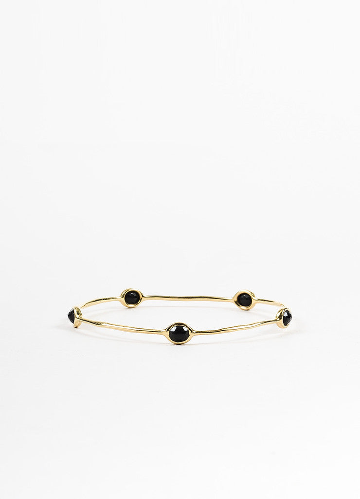 "Ippolita 18k Gold and Onyx ""Rock Candy 5 Stone"" Lollipop Bangle Bracelet Frontview"