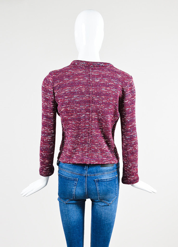 Red, White, and Blue Isabel Marant Etoile Woven Knit Jacket Backview