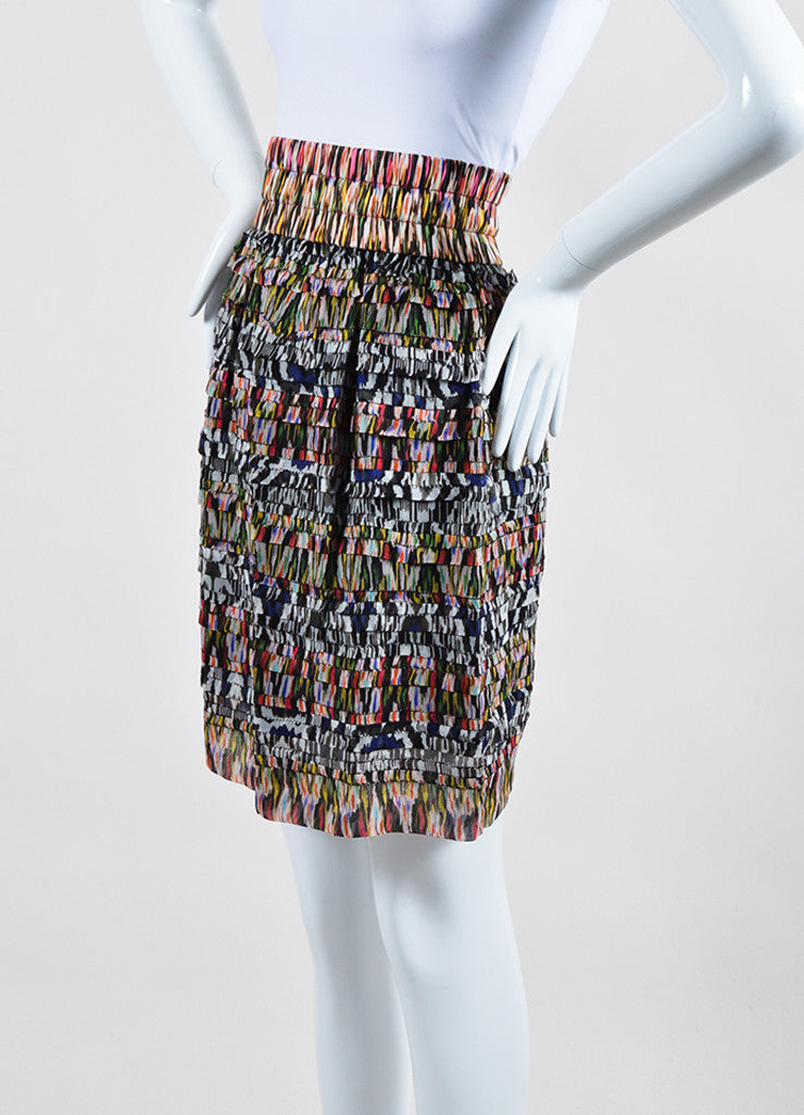 Multicolor Isabel Marant Silk Tiered Ruffled Printed Mini Skirt Sideview