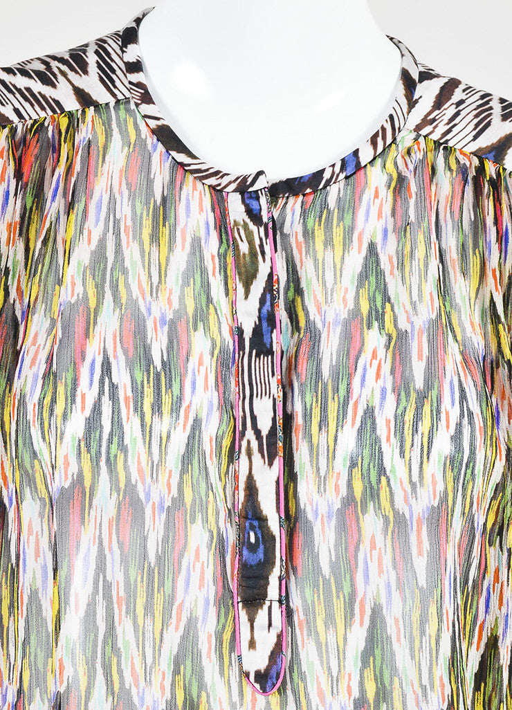 "Isabel Marant Multicolor Silk Print ""Pilay"" Long Sleeve Blouse Detail"