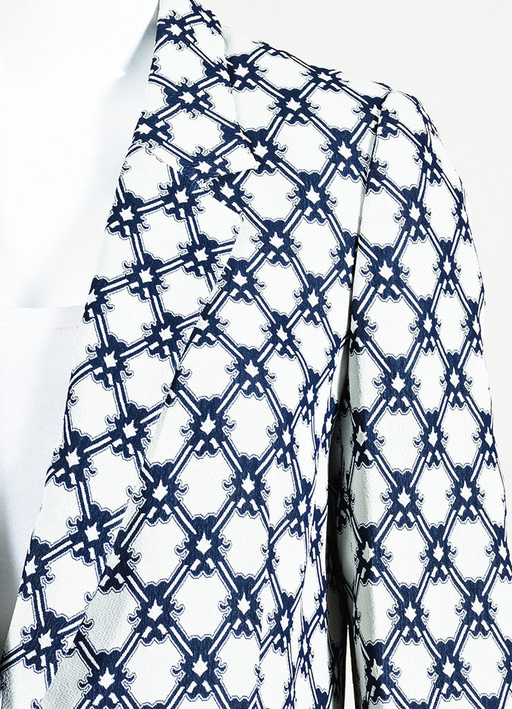 Isabel Marant White and Navy Blue Crepe Printed Blazer Jacket Detail