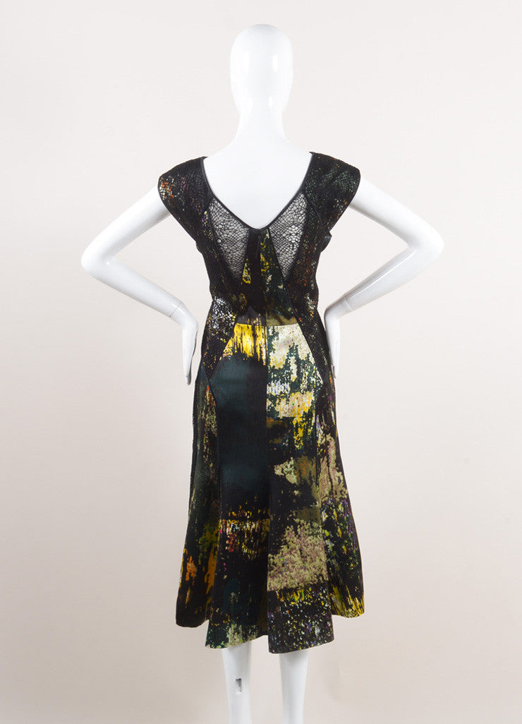 J. emdnel New With Tags Black and Multicolor Silk Lace Insert Sleeveless Dress Backview