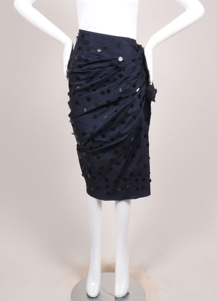 Lanvin Navy Blue Silk Paillette Embellished Ruched Skirt Frontview