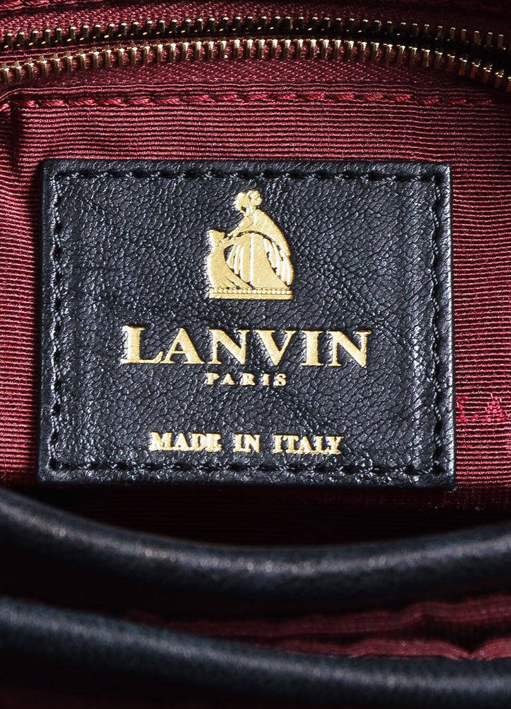 "Black and Gold Toned Quilted Leather Lanvin ""Sugar"" Chain Strap Flap Shoulder Bag Brand"