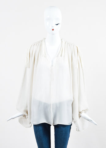 Off White Lanvin Sheer Silk Chiffon Tassel Shoulder Long Sleeve Blouse Frontview