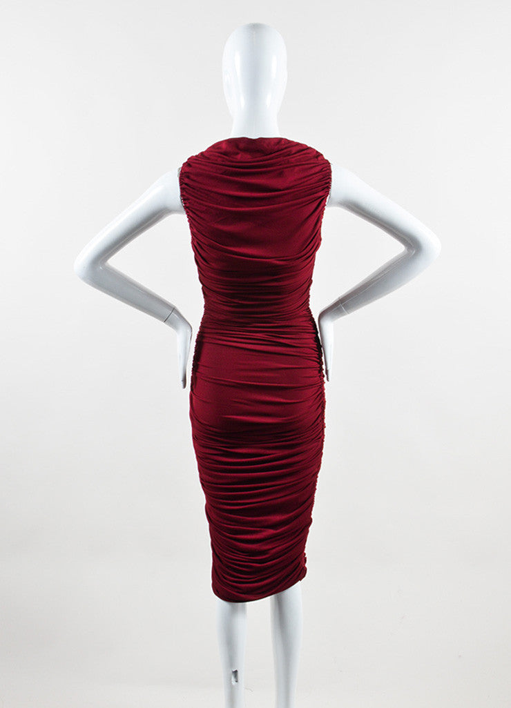 "Lanvin Burgundy Red ""Raisin"" Stretch Knit Long Draped Dress Backview"
