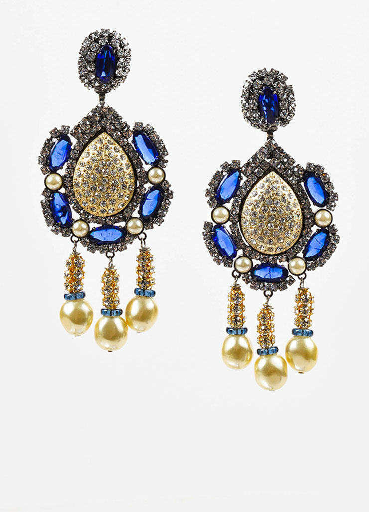 Lawrence Vrba Blue and Gold Toned Rhinestone Faux Pearl Oversized Drop Earrings Frontview