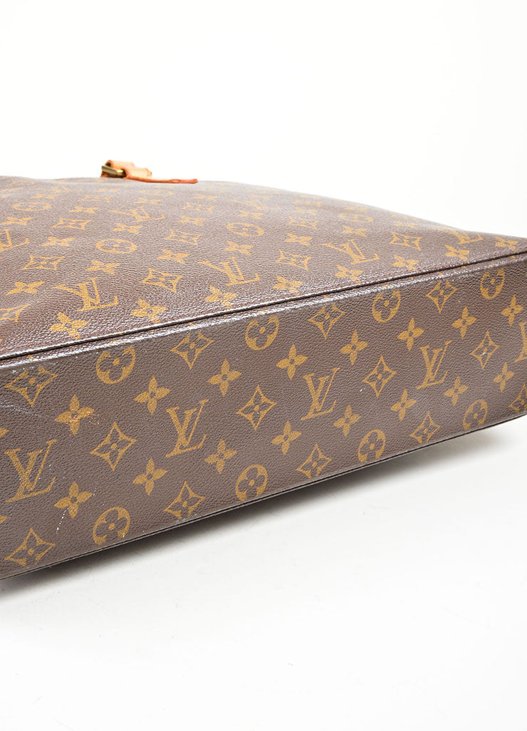 Brown Tan Louis Vuitton Monogram Canvas Luca Tote Bag Bottom