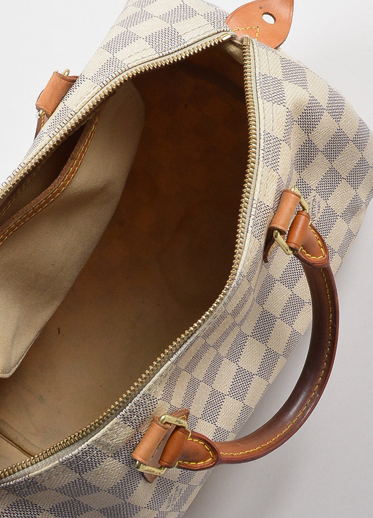 "Louis Vuitton White and Blue Coated Canvas Damier Azur ""Speedy 30"" Satchel Bag Interior"