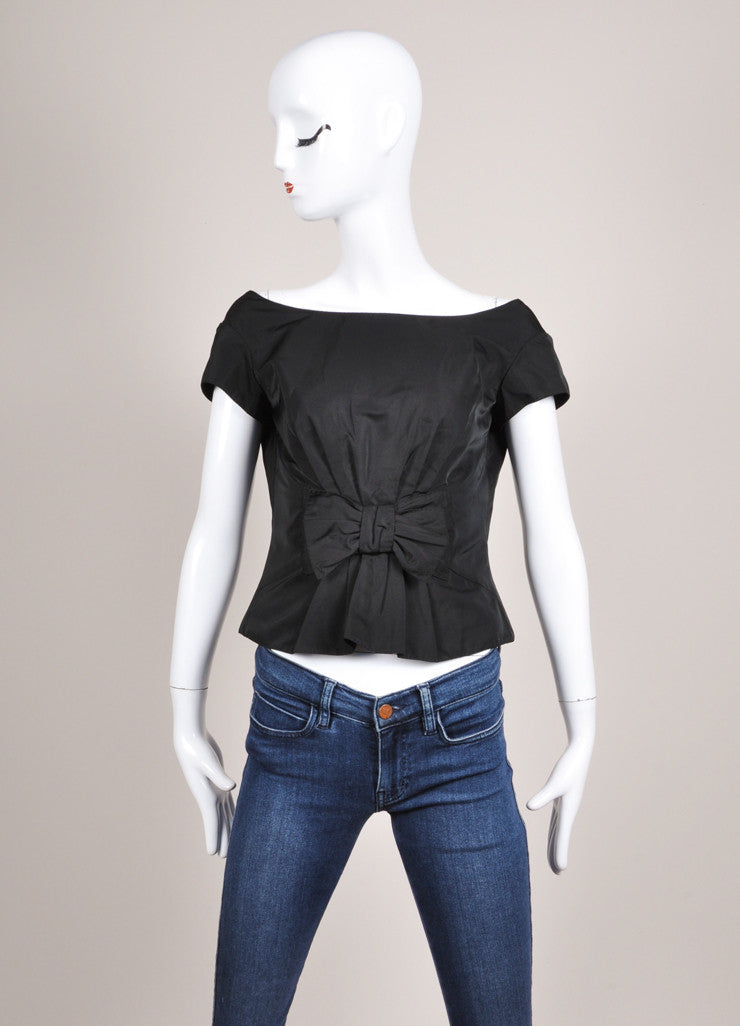 Louis Vuitton Black Silk Blend Bow Detail Embellished Cap Sleeve Shell Top Frontview