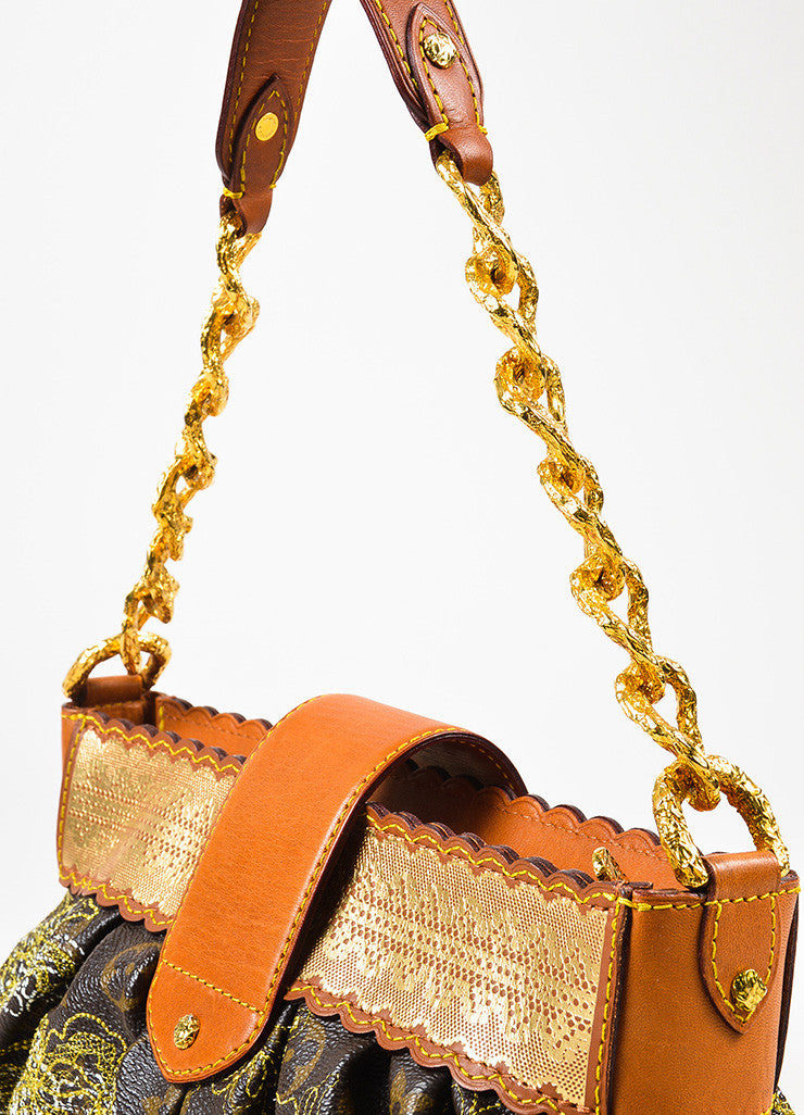 "Louis Vuitton Brown Metallic Gold Leather Trim ""Dentelle Kirsten"" Bag Detail 3"