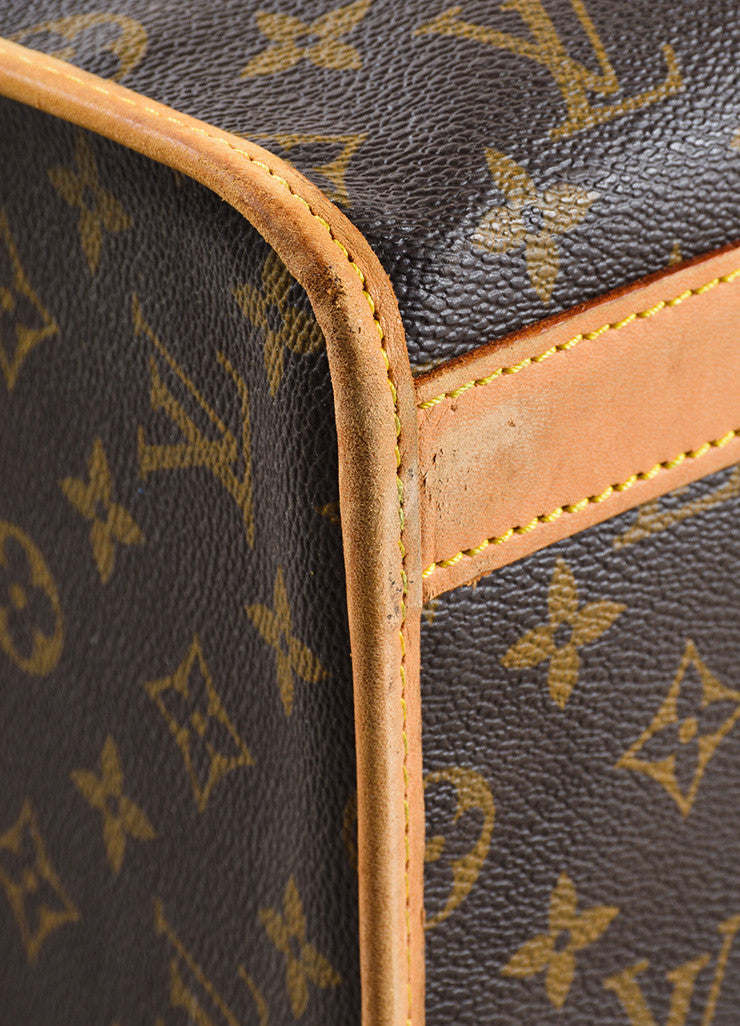 "Louis Vuitton Brown and Tan Coated Canvas and Leather Monogram Logo ""Dog Carrier 50"" Bag Detail"
