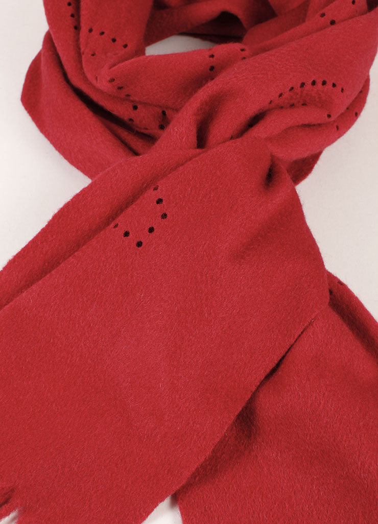 Louis Vuitton Red Cashmere Perforated Scarf Detail