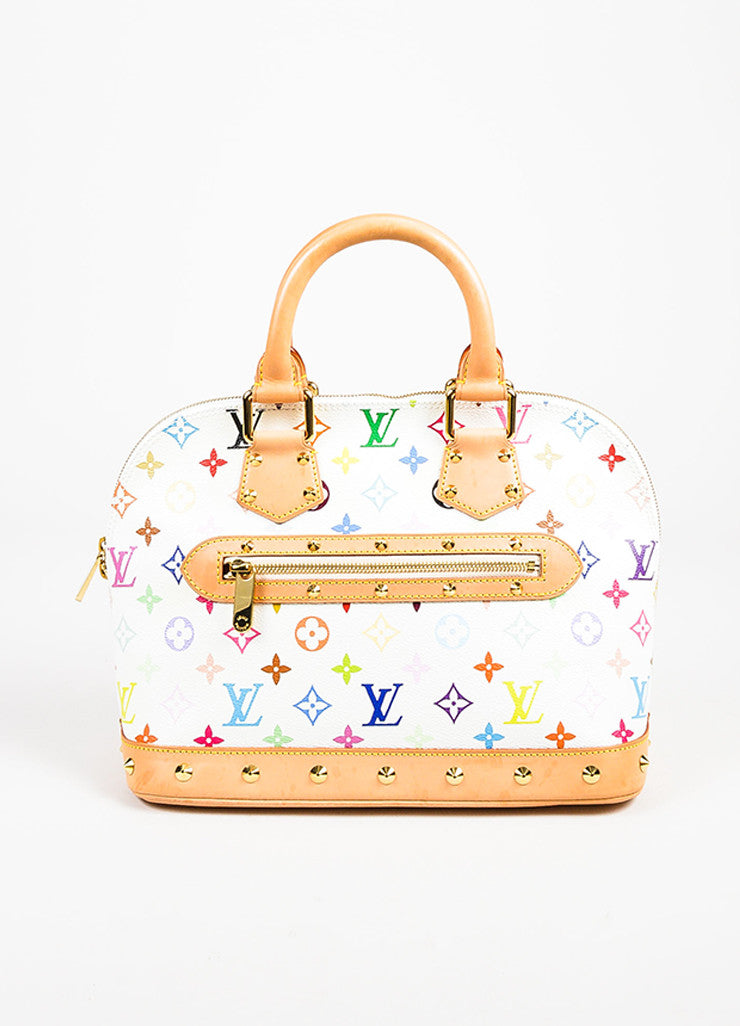 "Louis Vuitton White ""Multicolore Monogram Alma"" Canvas & Leather Trim Bag Frontview"