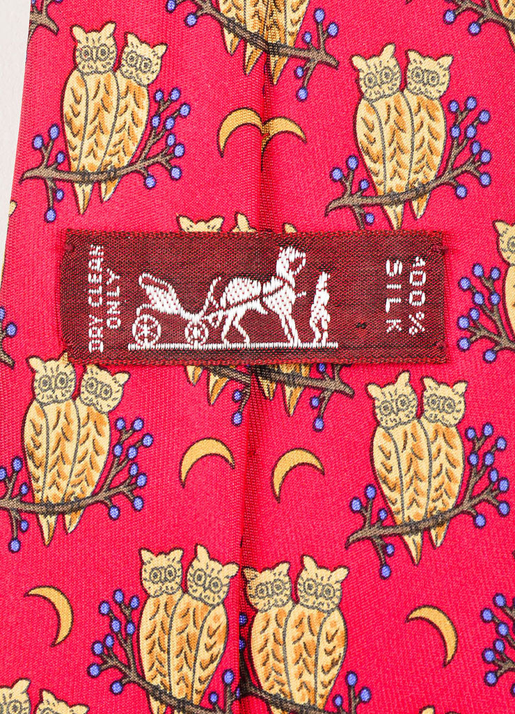 Men's Hermes Red Tan Blue Multicolor Silk Twill Animal Print Neck Tie Brand
