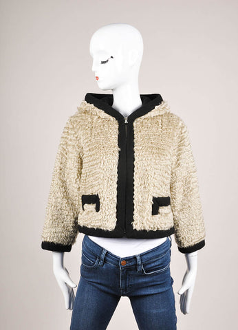 Marc Jacobs Beige and Black Mohair Woven Knit Trim Hooded Corp Sleeve Jacket Frontview