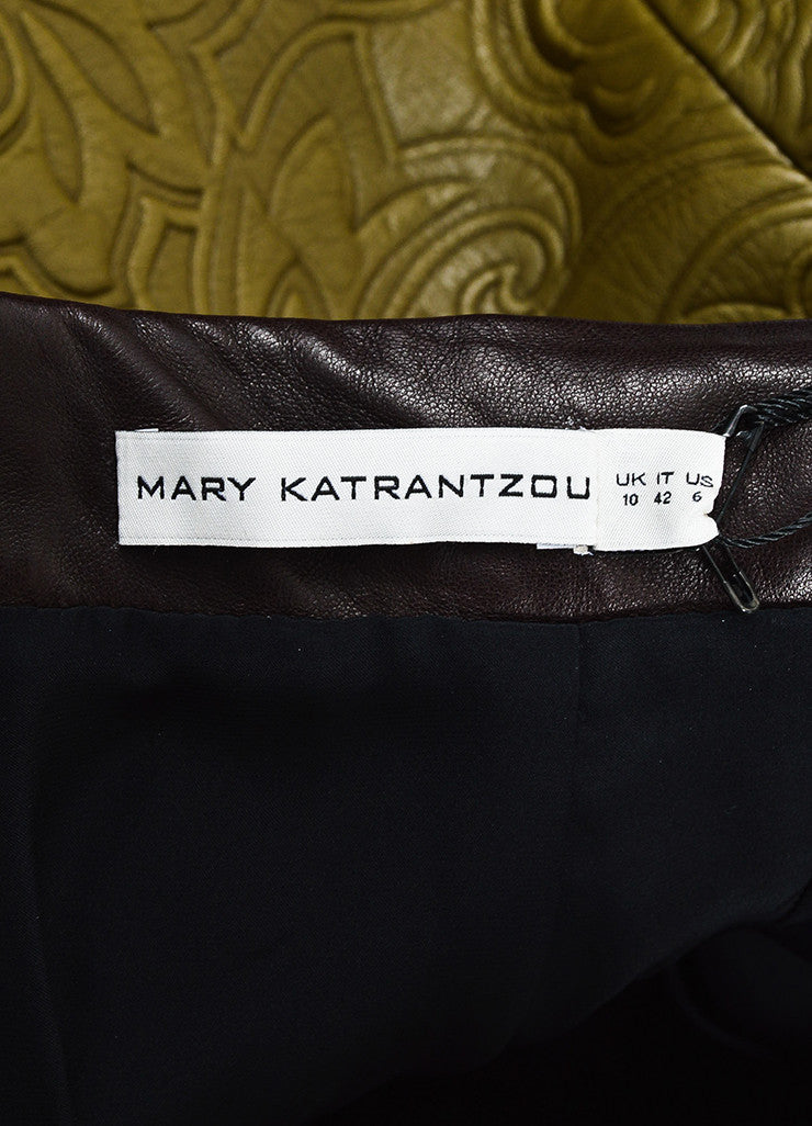 Mary Katrantzou Olive Green and Brown Leather Embossed Mini Skirt Brand