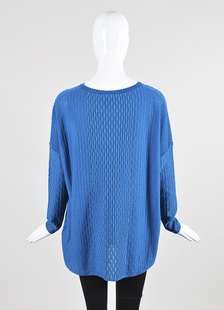 Blue and Multicolor M Missoni Dash Knit Dolman Sleeve Sweater Backview