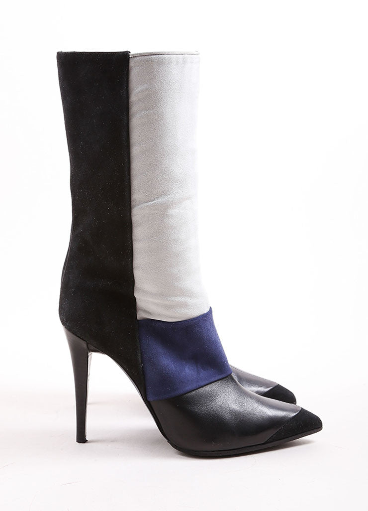 Narciso Rodriguez Blue, Cream, and Black Color Block Suede and Leather Heeled Boots Sideview