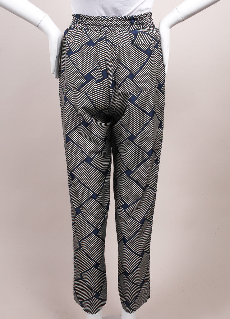 Odeeh New With Tags Blue, Black, and White Stripe Print Silk Lounge Pants Backview