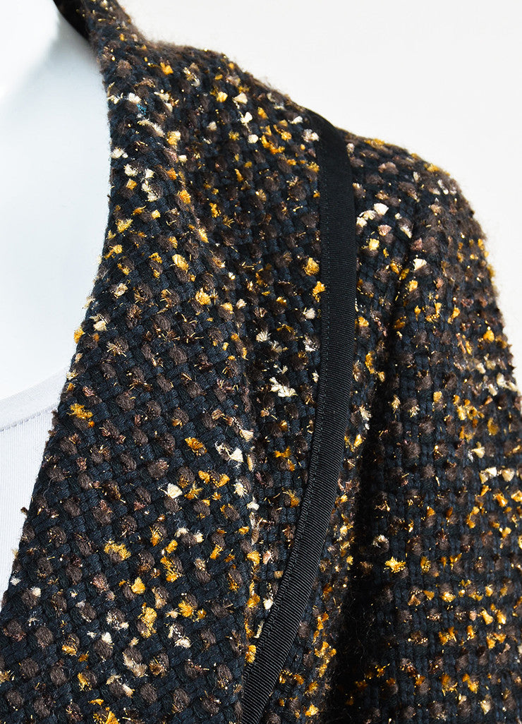 Black, Brown and Gold Oscar de la Renta Woven Tweed Jacket Detail