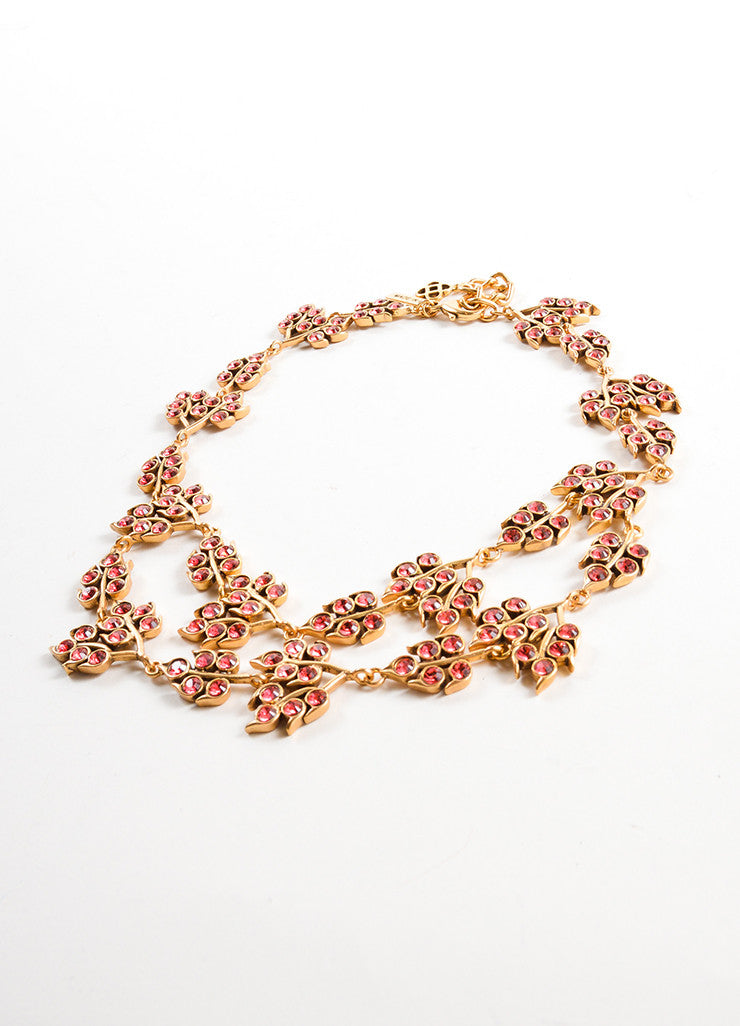Oscar de la Renta Gold Toned and Pink Rhinestone Embellished Leaf Link Necklace Sideview