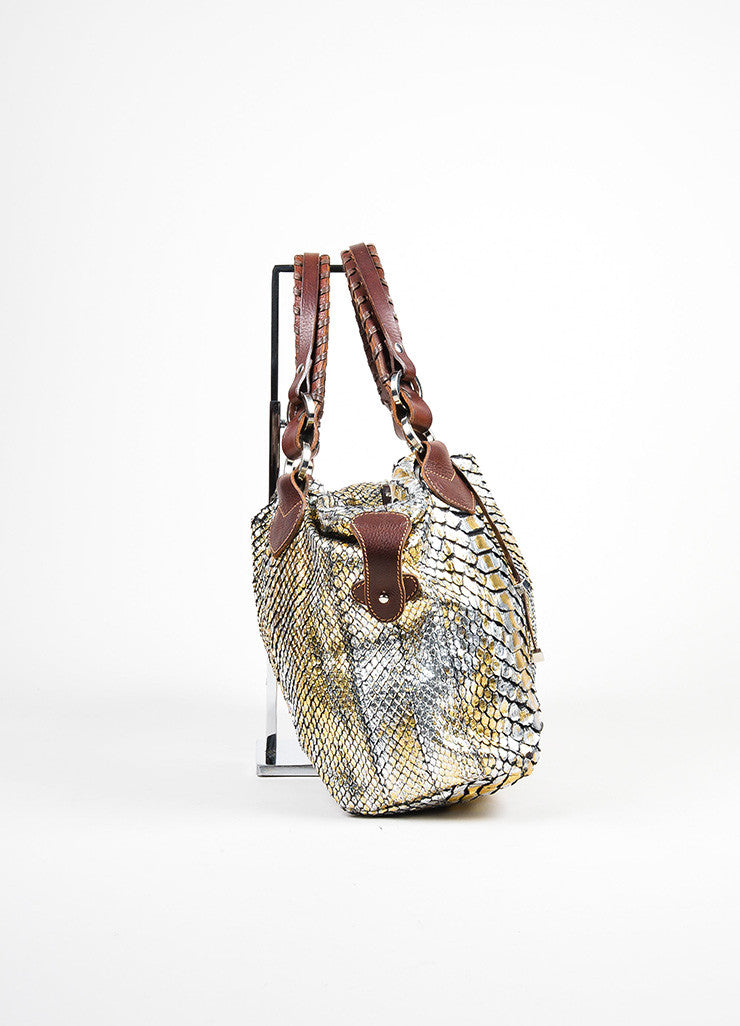 Brown, Silver, Gold Metallic Pauric Sweeney Python Bag Sideview