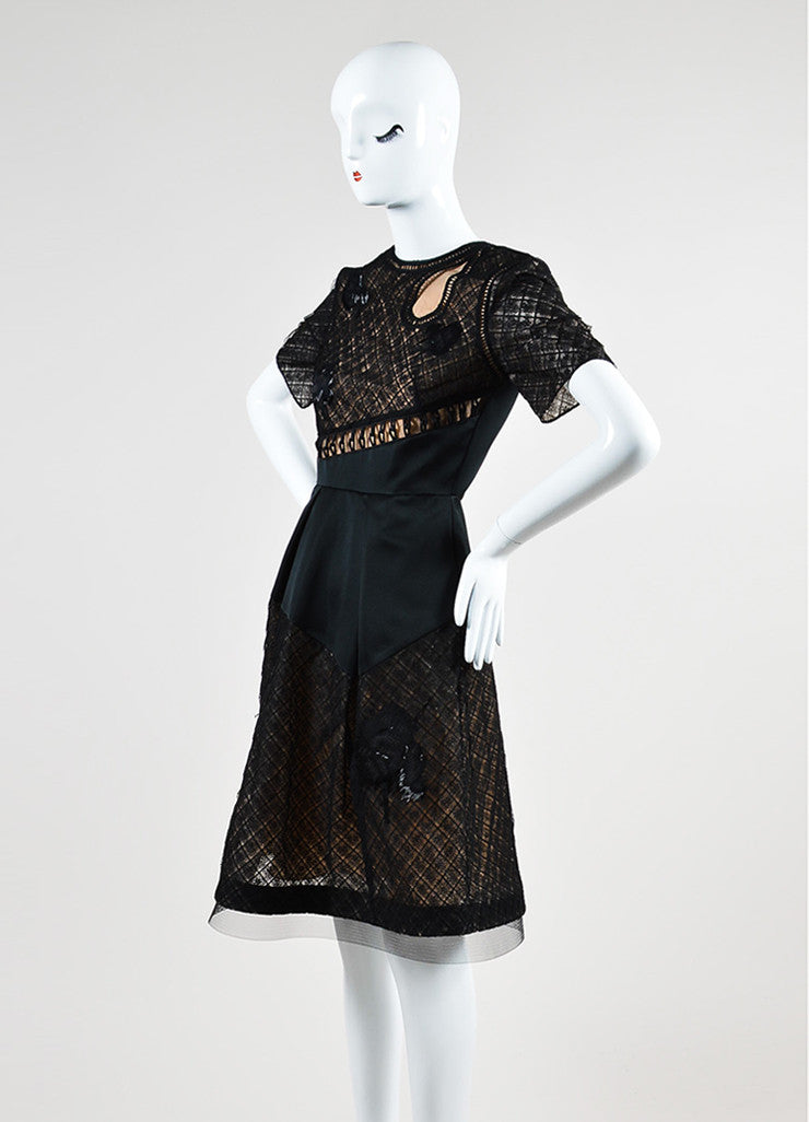 Black Prabal Gurung Beaded Short Sleeve Flounce Dress Side