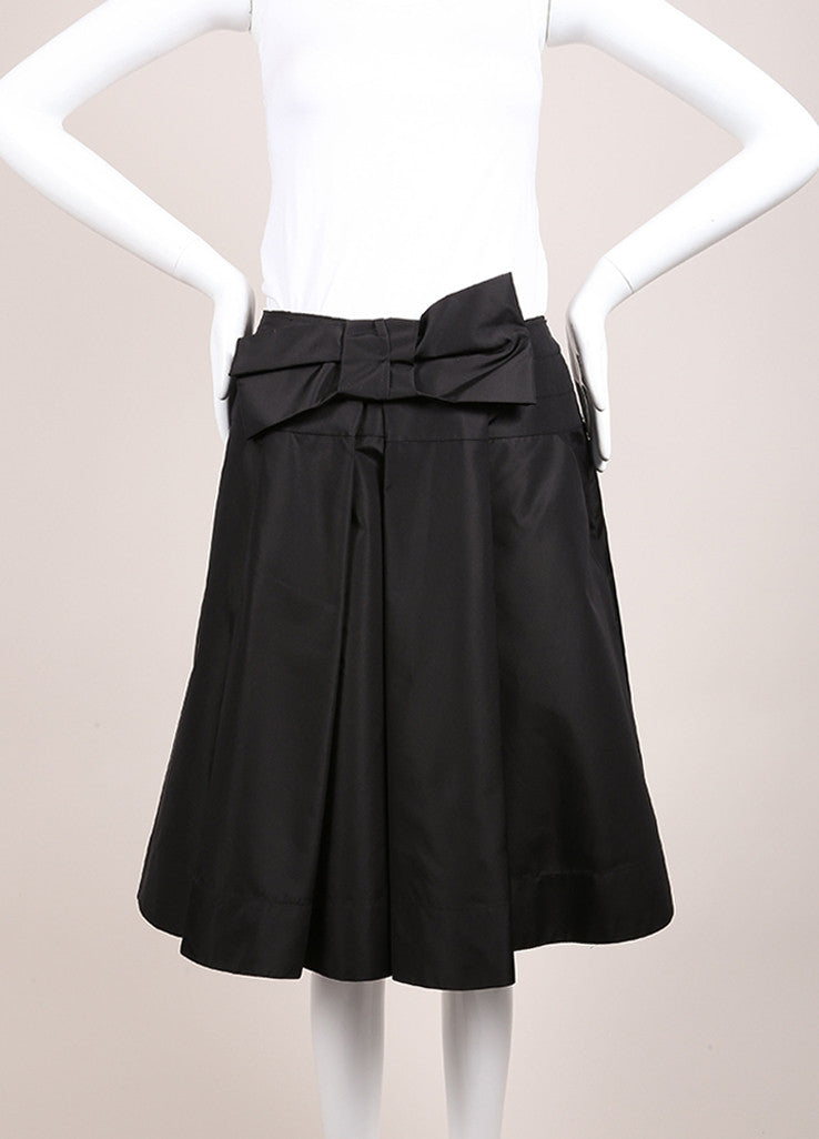 Prada Black Silk Pleated Bow A-Line Skirt Frontview